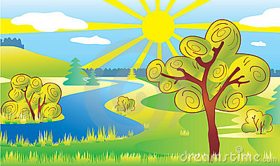 Nature ecology landscape. Sun and river.