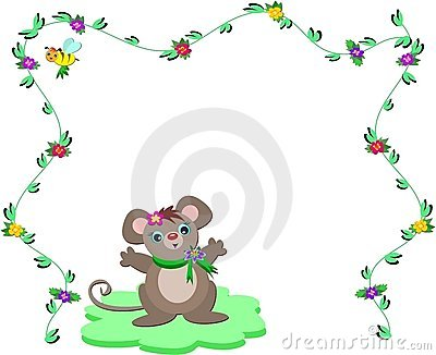 Nature Frame with Cute Mouse