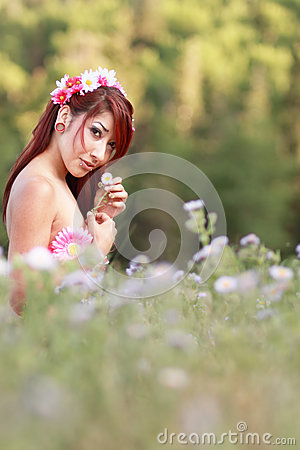Free Nature Girl Sitting In Field Of Wildflowers Royalty Free Stock Photography - 25842017