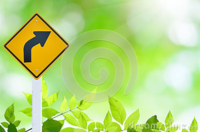 Nature green background with yellow fraffic