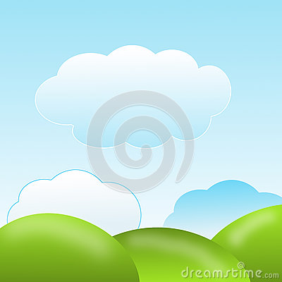 Nature with green lawns and blue sky