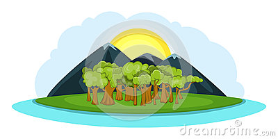Nature landscape banner horizontal, cartoon style Vector Illustration