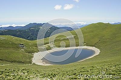Nature landscape of green lake scenery
