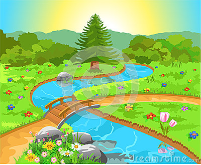 Nature landscape with water spring