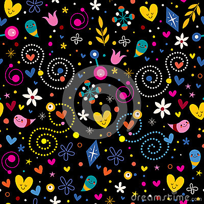 Free Nature Love Harmony Hearts Flowers Dots Fun Characters Seamless Pattern Stock Photos - 44332803