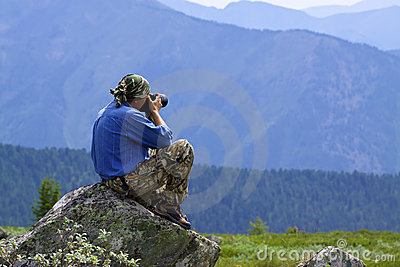 Nature photographer taking pictures