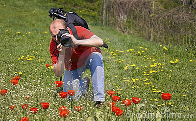 Nature photographer at work