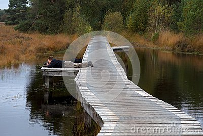 Nature photographer at work in the Buurserzand Editorial Stock Image