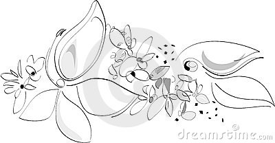 Nature in Spring - Flowers. Black and white. Vector Artistic Illustration