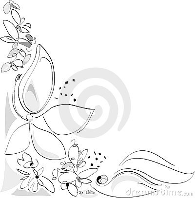 Nature in Spring - Flowers. Corner composition. Black and white. Vector Artistic Illustration