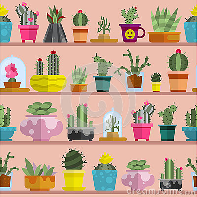 Free Nature Succulent Home Cactus Tropical Plant Vector Illustration Seamless Pattern Royalty Free Stock Photography - 90854867