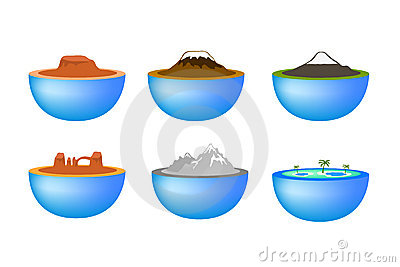 Nature travel landmarks icons
