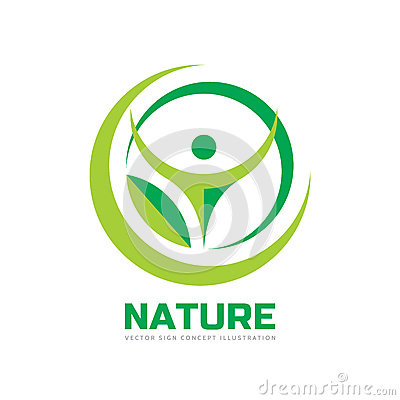 Free Nature - Vector Logo Template Concept Illustration In Flat Style. Abstract Shapes. Green Leaf And Human Character Silhouette. Stock Image - 89828431