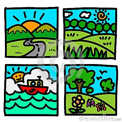 Nature view hand draw cartoon.