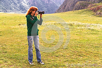 Nature woman photographer