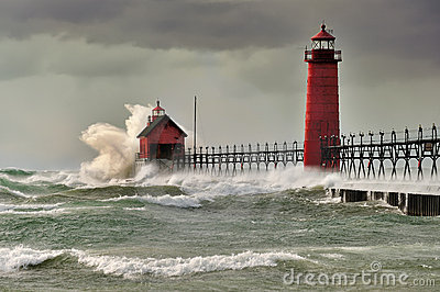 Natures Fury  Grand Haven Lighthouse