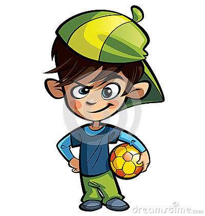Naughty boy holding a football ball