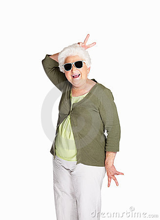 Naughty senior female wearing sunglasses