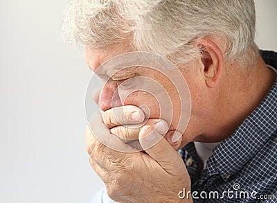Nauseated senior man