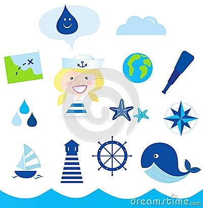 Free Nautic, Sailor And Adventure Icons - Blue Stock Photo - 15075480