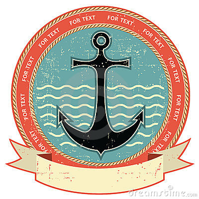 Nautical anchor.Vintage label