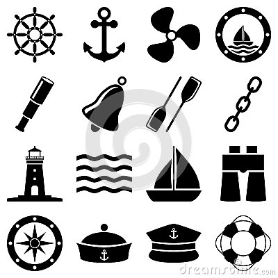 Free Nautical Black And White Icons Stock Photography - 28110942