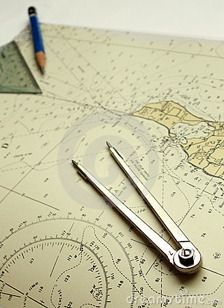 Free Nautical Chart And Dividers Royalty Free Stock Image - 5754256
