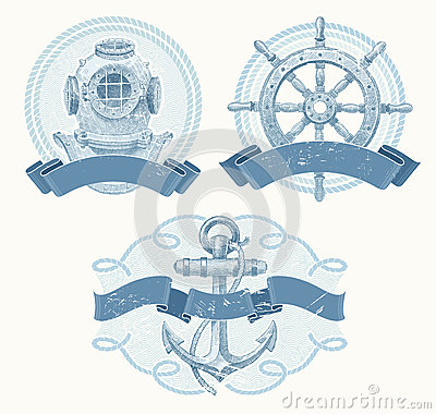 Free Nautical Emblems With Hand Drawn Elements Royalty Free Stock Photos - 26030088