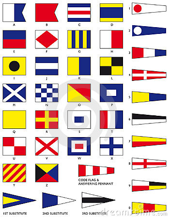 Naval Architecture on The Full Set Of Maritime Signal Flags Including Numeral Pennants