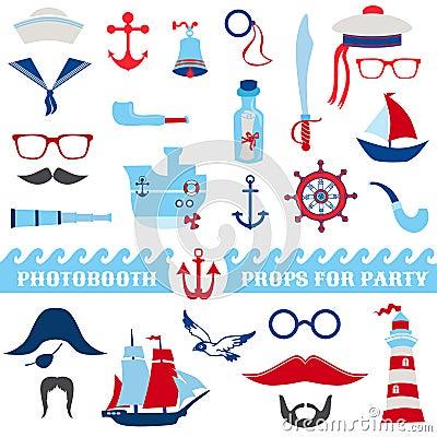 Free Nautical Party Set Royalty Free Stock Photo - 36711975