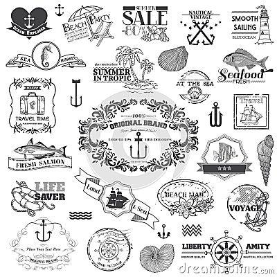 Free Nautical Sea Calligraphic Elements Stock Photo - 31304510