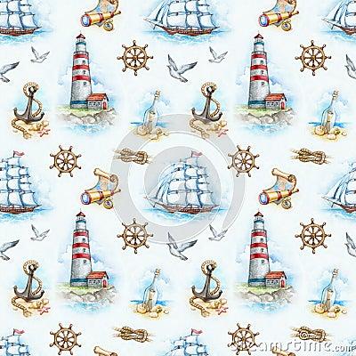 Free Nautical Seamless Pattern Royalty Free Stock Photos - 30818258