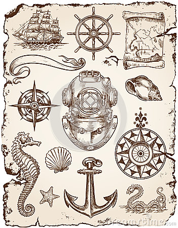 Free Nautical Vector Illustration Set Stock Photo - 31718750