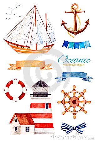 Ocean creature with anchor,lighthouse,ribbon and bow,bunting flags,sailboat Stock Photo