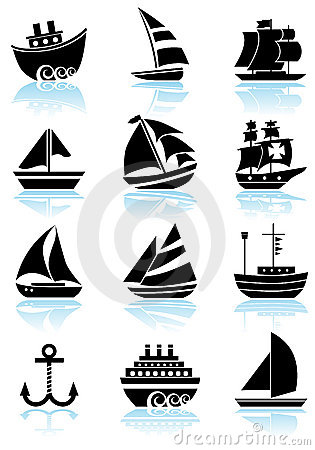 Free Nautical Web Buttons - Black And White Royalty Free Stock Images - 9517699