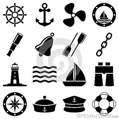 Nautyczne Czarny I Biały ikony