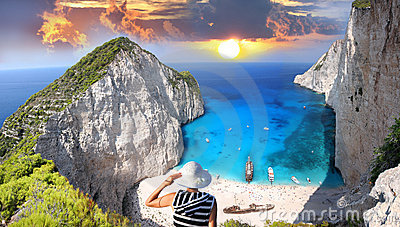 Navagio beach with Sexy Woman