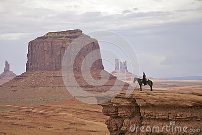 Navajo Horsewoman in Monument Valley