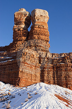 Navajo Twin Peaks Rock Formation, Utah, Winter