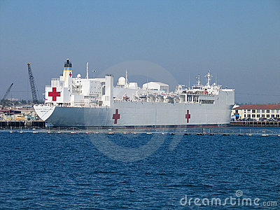 Naval hospital ship Mercy at San Diego bay Editorial Photo