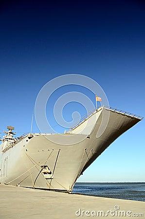 Naval ship docked