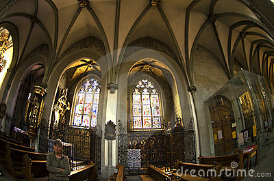 The nave of the cathedral  -   gothic  windows Editorial Stock Image