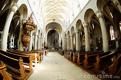 The nave of the cathedral pulpit with Editorial Stock Photo