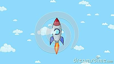 Nave del cohete de la historieta que vuela para arriba a través del cielo nublado Animación plana ilustración del vector