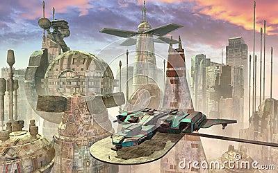Nave espacial y ciudad futurista
