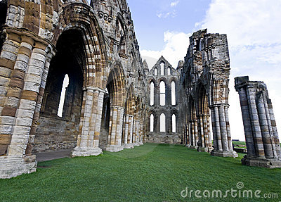 The nave of the ruined Whitby Abbey, England.