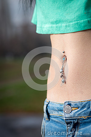 Free Navel Piercing Close Up Royalty Free Stock Photos - 50304678