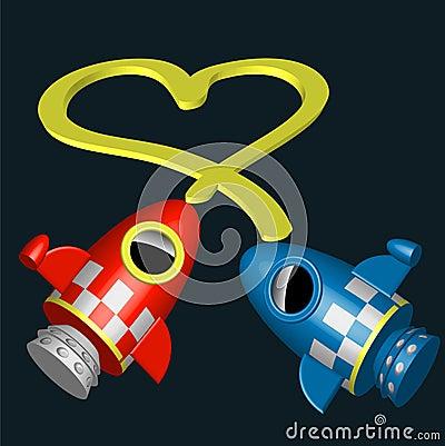 Naves rojas y azules poco del cohete con el corazón