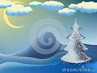 Navidad-árbol en una noche de la luna. EPS 8