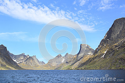 Navigating in the fjord of Reine in Lofoten